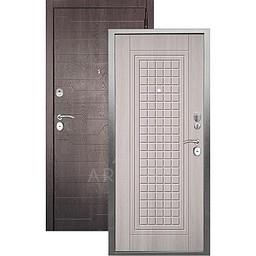Входная дверь «АРГУС»: «ДА-10» АЛЬМА (2П) ЛАРЧЕ СВЕТЛЫЙ / МДФ КОРТО ШОКОЛАД