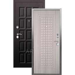 Входная дверь «АРГУС»: «ДА-10» АЛЬМА (2П) ЛАРЧЕ СВЕТЛЫЙ / МДФ ШОКОЛАД ВЕНГЕ ТИСНЕНЫЙ