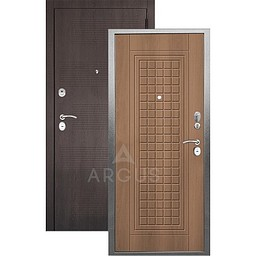 Входная дверь «АРГУС»: «ДА-10» АЛЬМА (2П) ОРЕХ МИЛАНСКИЙ / МДФ КЛОД ШОКОЛАД