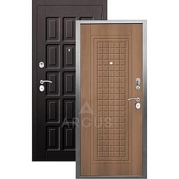 Входная дверь «АРГУС»: «ДА-10» АЛЬМА (2П) ОРЕХ МИЛАНСКИЙ / МДФ ШОКОЛАД ВЕНГЕ ТИСНЕНЫЙ